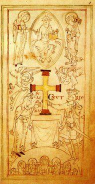 Knud den store og dronning Emma. Ca. 1031