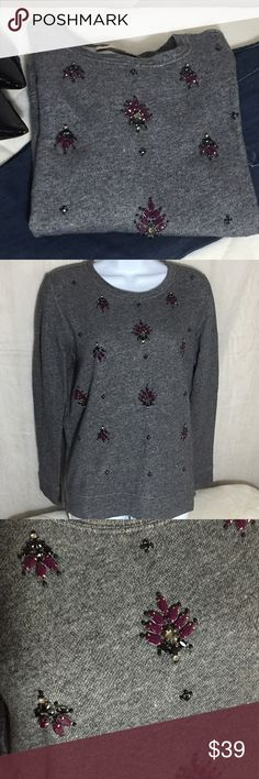 """The Loft Bling Top Size M French terry long sleeve top in Gray Sewn on bling in purple, black and clear. Band at hem and at the sleeve ends. Crew neck.  100% cotton  Machine wash cold and tumble dry low  Size M  Measurements are approximate laying flat Bust 20"""" Length 24""""  Bin T4 Tops"""