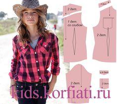 Выкройка блузки для девочки. Такая блузка в ковбойском стиле из теплого мягкого поплина в клетку, гарантированно станет одной из любимых вещей для девочки!