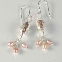 Pink Pearls Sterling Silver Dangle Earrings  http://www.etsy.com/listing/67828823/pink-pearls-sterling-silver-dangle