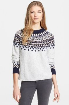 Joie 'Deedra' Fair Isle Sweater, A minimalist palette contemporizes the Fair Isle pattern detailing a stretchy wool-blend crewneck. Cable Knit Sweaters, Long Sweaters, Cashmere Sweaters, Sweaters For Women, Fair Isle Pullover, Jumper Shirt, Fair Isle Pattern, Winter Wardrobe, Style Guides