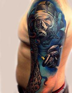 Underwater Sleeve Tattoos For Men Water Tattoos, New Tattoos, Tattoos For Guys, Cool Tattoos, Most Popular Tattoos, Sea Waves, Tattoo Inspiration, Sleeve Tattoos, Cool Designs