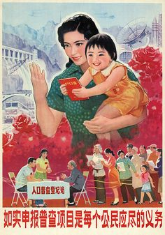 It is the ultimate duty of every citizen to report truthfully the items of the census. 1982. Chinese propaganda poster - Chinese propaganda posters