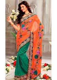 Party Wear Orange & Green Georgette Saree  - 73285
