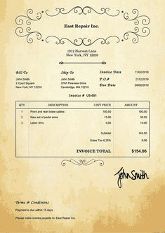 Invoice Template Us Oldie Free Receipt Template, Quote Template, Payroll Template, Bill Template, Invoice Design Template, Design Templates, Printable Invoice, Get Paid Online, Invoice Sent