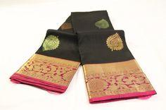 Black & Fucshia Pure Kanchipuram Silk Saree with Banyan Leaf Motifs | Temple…