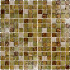 """Aqua Mosaics - 3/4"""" x 3/4"""" Glass Mosaic in Green Apple Brown Copper Blend - ( AIM-87342 )"""