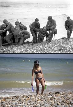 June marked a turning point in World War II as Allied troops stormed the beaches of Normandy, forcing the end of the German occupation of France. To mark this Friday's anniversary of D-Day, Reuters photographer Chris Helgren compiled a. D Day Photos, Then And Now Photos, D Day Normandy, Normandy Beach, Canadian History, American History, Rare Historical Photos, D Day Landings, Ww2 Pictures
