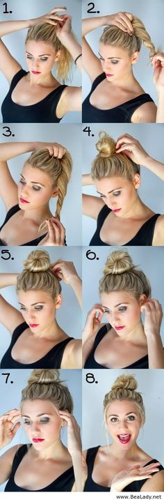 Beautiful tutorial for medium hair-top knot