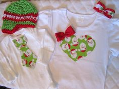 Christmas sibling set, heart and tie with crochet hat and bow, photo prop, big sister/little brother, holiday clothing, winter fashion. $44.95, via Etsy.