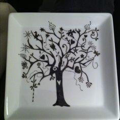 Porcelain paint on porcelain plate.