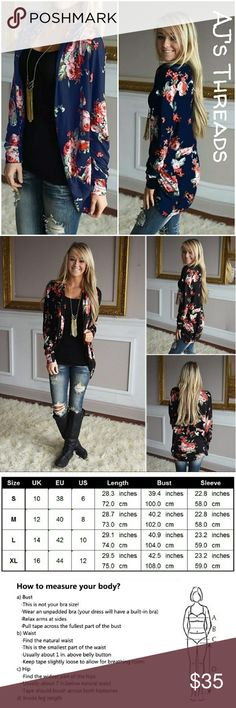 ?Just Restocked?Floral Print Cardigan Cute open front floral print cardigan. Perfect to complete any look, light and silky soft material perfect for spring, summer and fall. Material: Polyester Color: Black  ??Bundle and save 10% ??Free gift with purchase over $20 Sweaters Cardigans