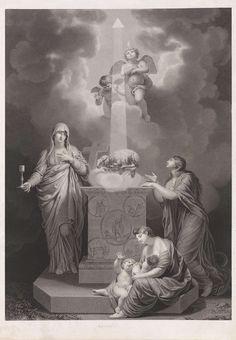 Anonymous | Concordia, Anonymous, , 1750 - 1850 | Allegorische voorstelling van Concordia: het nieuwe verbond van God met de mensheid. Aan de hemel een driehoek, symbool van God de Vader, waaruit een lichtbundel komt, die op het Lam Gods schijnt. Het Lam Gods, symbool voor Christus, ligt op het boek met de zeven zegels op een altaar. Bij het altaar staan Geloof met miskelk en kruis, Hoop met een anker en Liefde met twee kinderen. Op de wolken twee putti.