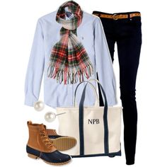 Plaid & Bean Boots by classically-preppy on Polyvore