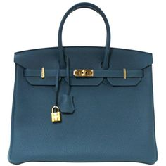 Preowned Hermès Blue Colvert Togo 35 Cm Birkin- T Stamp, Ghw (25,610 CAD) ❤ liked on Polyvore featuring bags, handbags, multiple, genuine leather purse, hermes bag, real leather handbags, leather purses and hermès