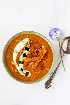 Fire Roasted Tortilla Soup with Ancho Tortilla Strips | Cali-Zona