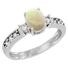 Sabrina Silver 14K White Gold Natural Opal Ring Oval 7x5 mm Diamond Accent  sizes 5 - 10