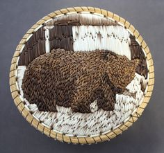 buriedthings:  Manitoulin Island quillboxes, with designs using only the natural colour. Porcupine quill embroidery (quillwork) on birchbark, trimmed with sweetgrass. From the collection of the Ojibwe Cultural Foundation.1. Marina Recollet2. Jean Mishibinijima3. Delia Beboning4. Josette Debassige5. Marina Recollet (side view of #8)6. Eric Beboning (side view of #7)7. Eric Beboning8. Marina Recollet