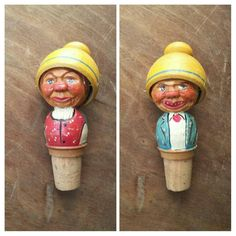 Vintage Bottle Stopper Anri Hand Carved Wood Italian Kitschy Two Faced Bobber Mid Century Home Bar Collectible Barware