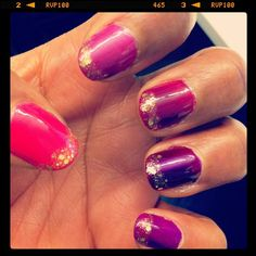 pink to purple gradient with gold tips