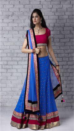 Seasons ghagra choli - royal blue lehenga with magenta blouse