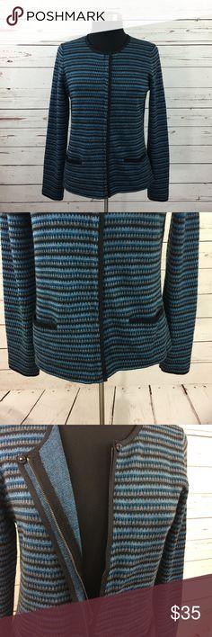 "Ann Taylor Striped Wool Full Zip Sweater Ann Taylor women's striped full zip cardigan sweater. Size medium. 39% wool 38% acrylic 10% rayon 7% nylon 6% polyester.  Underarm to Underarm: 18""  Top shoulder to bottom: 24""  5WSW917692 Ann Taylor Sweaters Cardigans"