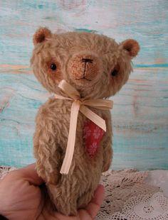 Ronaldo the teddy Bear 7 inches tall handmade by Woollybuttbears