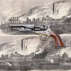 Colt M1862 Police revolver - 150 years ago, the Colt factory had a bad day.  It burned down. Believed started by Confederate agents, the Colt fire in 1864 put a real crimp in the company's percussion revolver production for the remainder of the year. But one gun that didn't burn up in Hartford, CT was this engraved Colt .36 caliber revolver.  This five-shot handgun probably sold for an elevated price in the high demand market of 1864. At the NRA National Firearms Museum in Fairfax, VA.: