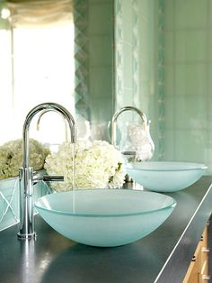 Our Favorite Bathroom Upgrades Striking Sink Make a design statement by upgrading to a chic vessel sink. This popular style of sink appears to sit on the top of the vanity counter like a bowl on a table. A vessel sink paired with a gooseneck faucet can do Blue Bathroom Decor, Bathroom Colors, Small Bathroom, Serene Bathroom, Bathroom Ideas, Bathroom Accessories, Master Bathroom, Seafoam Bathroom, Unique Bathroom Sinks