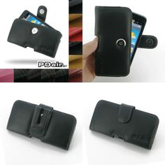 PDair Leather Case for Huawei Ascend Y511 - Horizontal Pouch Type (Black)