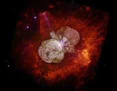 Eta Carinae's great eruption in the 1840s created the billowing Homunculus Nebula, imaged here by Hubble, and transformed the binary into a unique object in our galaxy. Astronomers cannot yet explain what caused this eruption. The discovery of likely Eta Carinae twins in other galaxies will help scientists better understand this brief phase in the life of a massive star. Image credits: NASA, ESA, and the Hubble SM4 ERO Team.