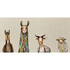 Found it at Joss & Main - Donkey, Llama, Goat, Sheep on Cream Canvas Print
