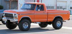 '78 - '79 orange Ford short bed 4x4 pickup