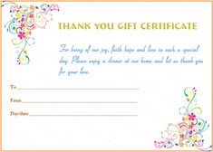 Special Day Thank You Gift Certificate Template