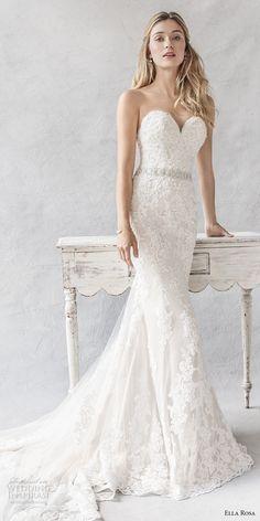 ella rosa spring 2017 bridal strapless sweetheart neckline full embellishment elegant romantic sheath fit flare wedding dress chapel train (377) mv