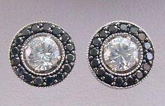 Black Diamond 14kt White Gold Stud Earring Jackets Milgrain Accents .50 ct Black