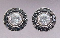 Black Diamond 14kt White Gold Stud Earring Jackets Milgrain Accents .50 ct Black