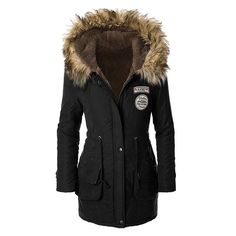 57.29$  Buy here - http://alirnd.worldwells.pw/go.php?t=32766273665 - 2016 New Winter Women Coat Parka Casual Outwear Military Hooded Coat Woman Clothes Fur Coats manteau femme Winter Jacket Women