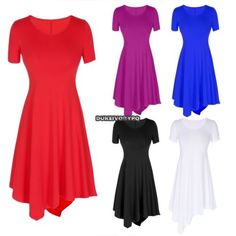 Women Fashion Solid Short Sleeve O-Neck mini inregular hem Dress Sundress | eBay