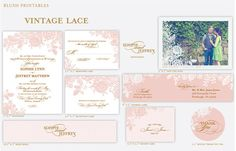 pink vintage lace printable wedding invitation suite and invitations, Blush Printables