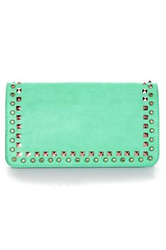 Cool Studded Clutch - Sea Green Clutch - Vegan Purse - $36.00