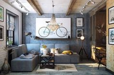 cozy gray living room with hanging lamp and wall art