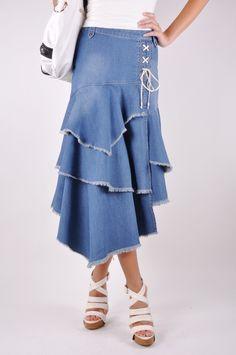 Fashion Tiered Jean Skirt