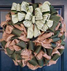 Green and Burlap Holiday Wreath. $60.00, via Etsy.
