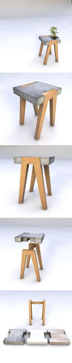 水泥和木材是两种经济又环保的材料,在家具可持续设计中扮演着重要的角色。墨西哥设计师Hector Leon利用当地的天然水泥和新西兰木材设计了一张混搭边桌。工字桌面采用水泥浇筑而成,桌腿和支架则用木材做成,将桌面直接放在木头支架上即可使用,无需其它固定件和工具。 简单,结实,经济,而又不乏现代感、潮流感和时尚感。 3076 ^ Welcome To My Website:    http://www.aliexpress.com/store/919173