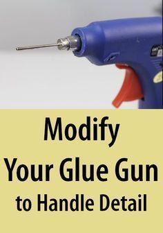 TO MAKE a MODED GLUE GUN / Tutorial / DIY Attach a ball pump needle to the tip of your glue gun to extrude a finer stream of glue.Attach a ball pump needle to the tip of your glue gun to extrude a finer stream of glue. Glue Gun Projects, Glue Gun Crafts, Diy Crafts, Diy Glue, Crafts With Hot Glue, Dremel Tool Projects, Diy Projects, Hot Glue Art, Fun Craft