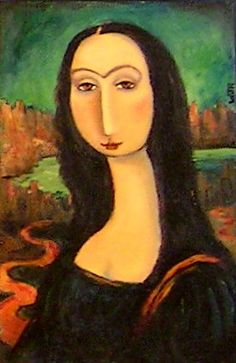 Mona Lisa in Amadeo Modigliani style with a touch of Frieda Khalo Mona Lisa Smile, Diego Rivera, Lisa Gherardini, La Madone, Mona Lisa Parody, Amedeo Modigliani, Famous Art, Classical Art, Art History