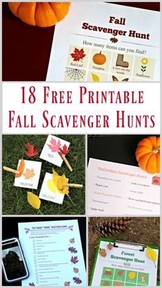 FREE printable scavenger hunt lists and clues for Autumn! Ideas for Fall, Halloween and Thanksgiving that are perfect for toddlers, big kids, tweens and teens!