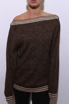 70s alpaca sweater boatneck geometric pattern neck by shopBTMV