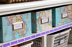 DIY Organizing Ideas love the idea of covering the boxes in old maps